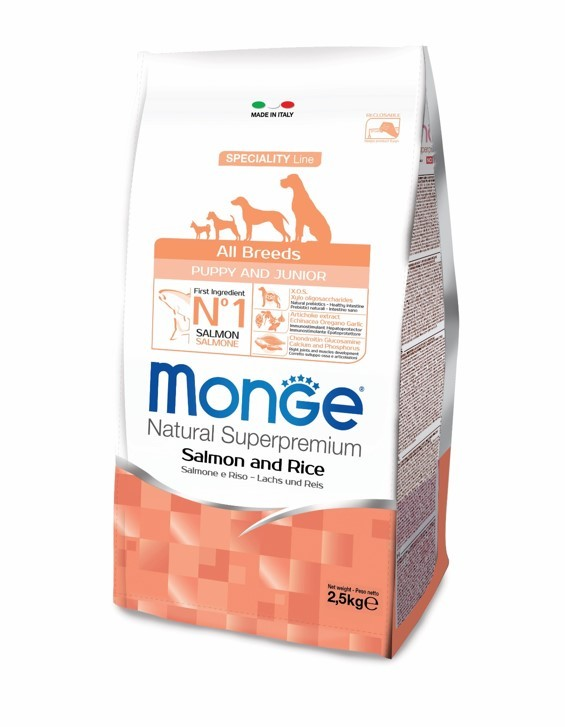 Monge SPECIALITY LINE ALL BREEDS PUPPY&JUNIOR SALMONE AND RICE